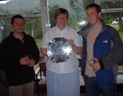 Vice Commodore Jose Hodgkins (hugging the winners trophy) with John Telford and Andy Smith