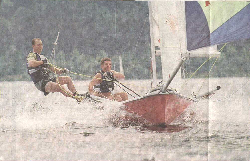 John Telford and Andy Burgess trialing the Laser 4000