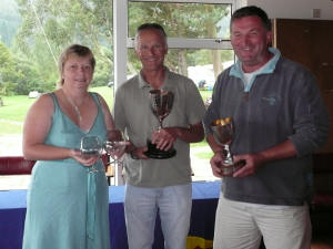 FF Northern Champions Steve Goacher and Phil Evans with Commodore's wife Elaine Hunt