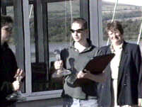 Overall winner Chris Fry looked on by Vice-Commodore Judith Kirkpatrick
