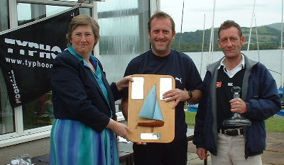 NW Enterprise Champion helm and crew J & C Blundell from Hallamshire with Vice-Commodore Jose Hodgkins