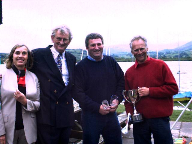 Winners Steve Goacher and Phil Evans with Commodore Miles Middleton and his wife Bobby